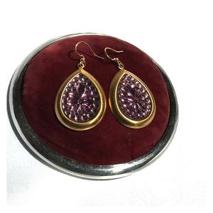 Jewelry - Czech Pressed Glass Earrings  Amethyst Color